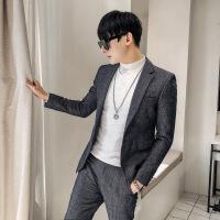 新款英伦男士时尚格子西服两件套装男青年修身韩版小西装休闲外套