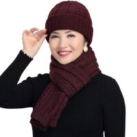 冬季中老年女士针织毛线羊毛帽子围巾两件套装 老人妈妈冬天帽子