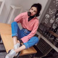 2018春季新款蕾丝拼接两件套灯芯绒上衣+高腰显瘦铅笔牛仔裤女潮
