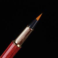 红木制做钢笔式毛笔狼毫便携小楷花梨木软笔套装抄经宣纸书法练习秀丽笔新毛笔可加墨软头笔