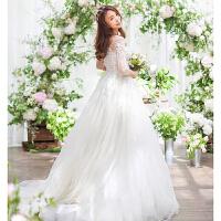 婚纱礼服2018新款韩版新娘结婚一字肩长袖修身拖尾显瘦齐地春夏季 白色拖尾款 加100元联系改价