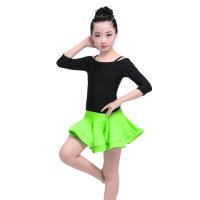 2019 儿童舞蹈服女童荷叶边吊带分体练功服 少儿拉丁舞蹈裙比赛服表演服 黑+果绿套装