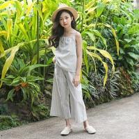 2019 女童背心套装夏新款中大童条纹吊带两件套韩版 条纹