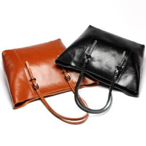 【春夏新品惠】2018新款女包单肩牛皮包购物袋手提真皮包简单实用女