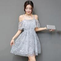 夏装新款韩版时尚女装显瘦露肩一字肩吊带网纱刺绣短裙连衣裙
