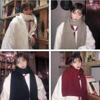 韩国INS同款冬天搭配逼入的经典百搭加长款纯色围巾