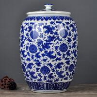 景德镇青花陶瓷米缸大米桶面粉罐50斤水缸香油菜籽油密封储物缸
