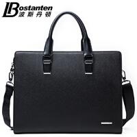 (可礼品卡支付)波斯丹顿新款男士牛皮包商务休闲包手提包单肩包斜挎包公文包B12163
