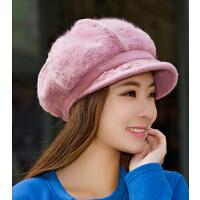 冬季帽子秋冬天时尚 女韩版毛帽针织毛线帽 潮鸭舌贝雷帽保暖兔
