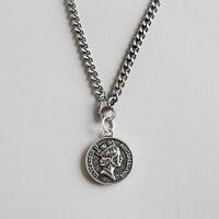 ?S925纯银个性做旧复古项链马鞭麻花链条伊丽莎白硬币吊坠锁骨项链