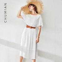 初棉2018夏季新款宽松蝙蝠袖冷淡风连衣裙中长款短袖裙