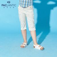 派克兰帝童装 夏季男童梭织印花七分裤 男中大七分短裤