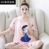 韩版薄款纯棉绸家居服睡衣女夏季休闲绵绸短袖女士人造棉两件套装