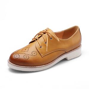 【17新品】阿么复古擦色女鞋时尚雕花系带圆头低跟学院风单鞋子