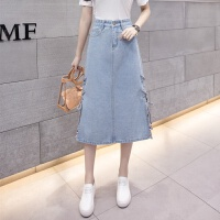 两侧系带开叉高腰牛仔半身裙中长款A型2018春夏新款韩版女装潮