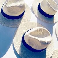 遮阳帽女士夏天小清新出游度假海边沙滩帽防晒太阳帽草帽子女礼帽 M(56-58cm)