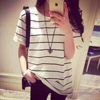 短袖t恤女夏天圆领条纹韩国修身显瘦体恤衫女装上衣