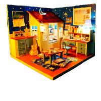 手工DIY小屋男女生日创意礼物制作小房子玩具拼装模型迷你女孩房 星语心愿+罩工具胶灯