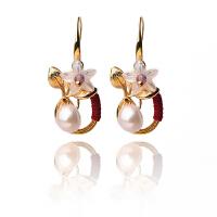 女古典气质镀K金耳坠花朵时尚复古宫廷耳饰饰品珍珠耳环