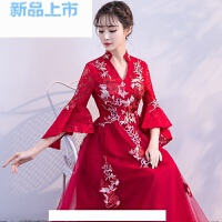 中式敬酒服新娘春季2018红色显瘦大码订婚回门结婚晚礼服裙女