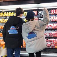 青少年棉�\男冬季新款情�H外套�W生潮�n版��松�B帽�W生休�e面包服