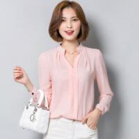 天天V领雪纺衫女式长袖衬衫韩版修身上衣2018春装新款修身