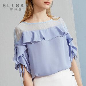 熙世界2018夏季新款网纱上衣纯色ins超火的短袖雪纺衫女112SS050