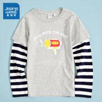 [3折到手价:63.6元]真维斯男童 2020春季新款 纯棉平纹圆领修身假两件长袖印花T恤
