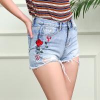 三彩2017夏装新品花朵绣花牛仔裤破洞毛边热裤短裤D728783N60