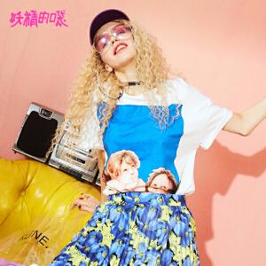 【开学季 秒杀价:67】【再享满500减60券】妖精的口袋个性t恤衫新款原宿风chic休闲hiphop短袖女
