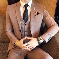 新品18秋冬新款男士潮流档免烫西服三件套装韩版修身青年结婚套装
