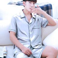 清凉丝绸睡衣男夏天开衫冰丝薄款男式短袖家居服短裤大码青年套装
