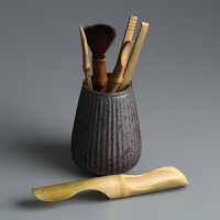 茶道六君子 复古粗陶实木竹陶瓷带筒整套 功夫茶具配件