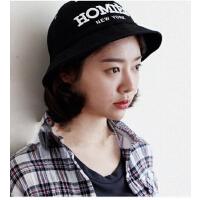 韩版时装帽渔夫帽盆帽男刺绣字母时尚女帽子