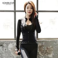 【限时秒杀】Kombucha运动健身外套女士修身显瘦短款立领无帽开衫运动外套HXF33807W