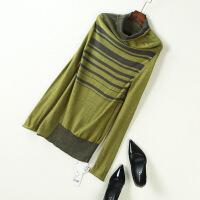 秋冬高领毛衣女冬季新套头条纹宽松显瘦长袖打底针织衫