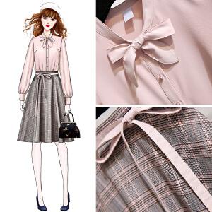 安妮纯2019秋冬新款韩版两件套装裙子中长款背带裙打底裙格子毛呢连衣裙