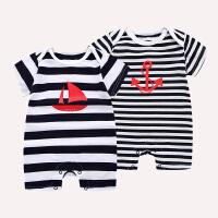 夏季新款薄男女婴幼儿宝宝条纹运动纯棉短袖爬爬服连身衣连体哈衣