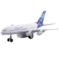 合金飞机A380客机空回力模型儿童玩具 中客车大型客机 声光