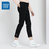 [秒杀价:78.9元,年货节限时抢购,仅限1.15-19]真维斯女装 2019秋装新款 时尚帅气中腰直筒牛仔长裤
