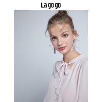 Lagogo/拉谷谷2019年秋夏季新款时尚雪纺V领系带七分袖衬衫女HCCC337Q21