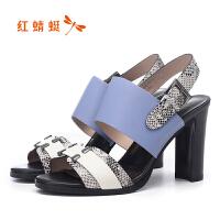 红蜻蜓超高跟鱼嘴真皮女凉鞋质感小方扣蛇纹拼色皮高端女鞋正品