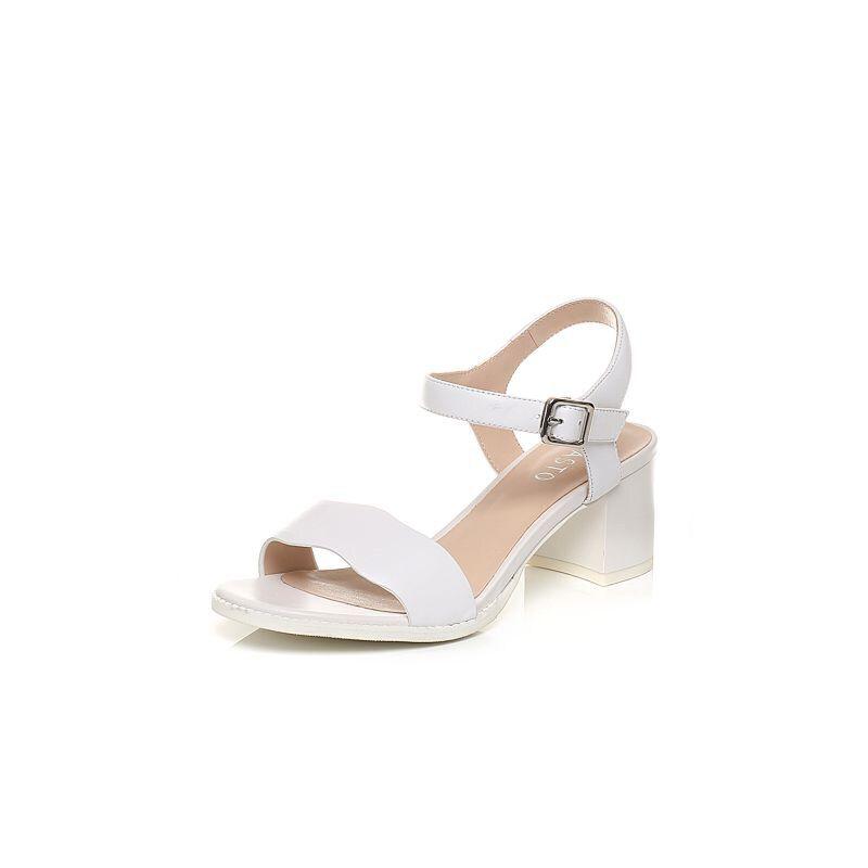 BASTO/百思图2017夏季专柜同款牛皮简约一字带粗跟女凉鞋TCO05BL7
