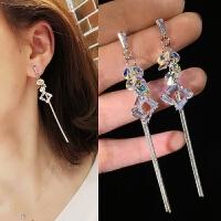 显脸瘦的耳环超仙流苏时尚长款银针耳钉女奥地利水晶耳坠耳饰