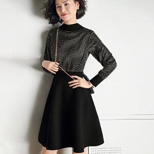【下单立减120元  仅限今日】赫本风波点黑色裙子2019春季新款复古法国小众连衣裙女