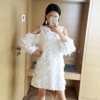 羽毛连衣裙潮 夏季新品淑女气质露肩淑女气质A字裙长袖白色裙子女