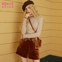妖精的口袋冬装新款针织修身高领毛衣丝绒短裤套装女