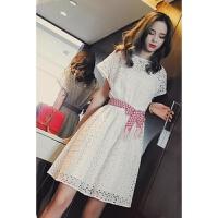 蕾丝连衣裙女夏小清新显瘦裙子闺蜜装娃娃裙小个子修身性感礼服裙仙女裙白色 白色
