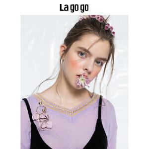 【清仓3折价119.7】Lagogo/拉谷谷2019秋季新款浪漫紫针织衫HCMM438Y26