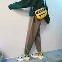 新品港风男装冬季男士韩版加厚运动裤青年束脚裤加绒小脚宽松休闲